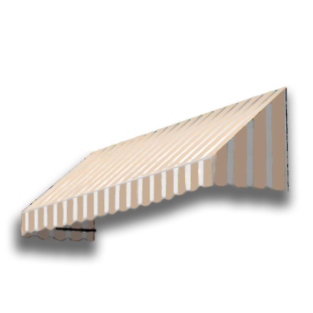 6 ft. San Francisco Acrylic Fabric Window Awning (31 in. H x 24 in. D) in Tan/White Stripe