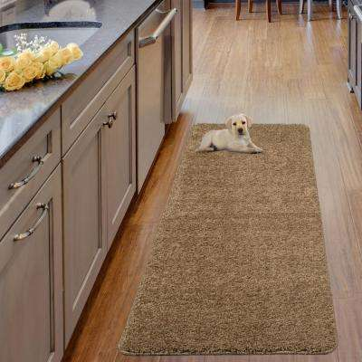 Luxury Shaggy Collection Shag Solid Design Beige 2 ft. x 5 ft. Runner Rug