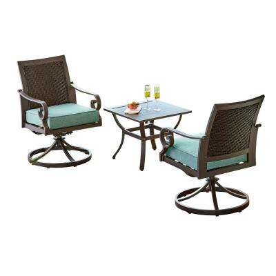 Milano 3-Piece Metal Patio Outdoor Bistro Set with Teal Cushions