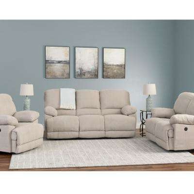 Lea 3-Piece Beige Chenille Fabric Power Recliner Sofa and Chair Set with USB Port