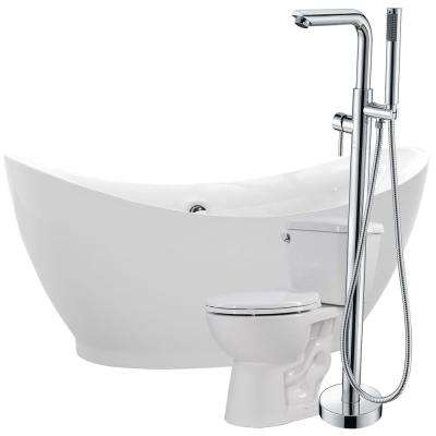 Reginald 68 in. Acrylic Flatbottom Non-Whirlpool Bathtub in White with Sens Faucet and Cavalier 1.28 GPF Toilet