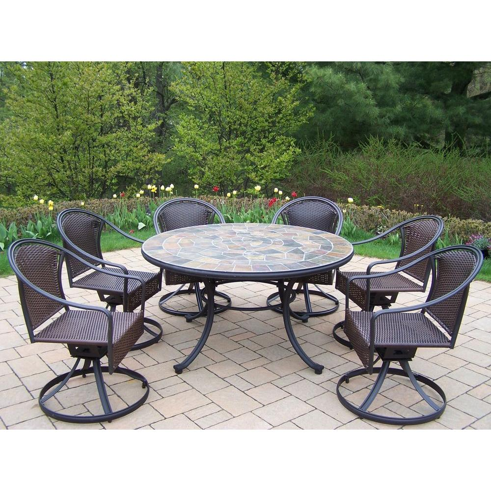 Oakland Living Tuscany Stone Art 54 in. 7-Piece Patio Wicker Swivel Chair Dining Set