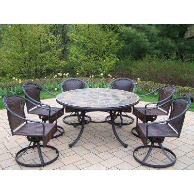 Tuscany Stone Art 54 in. 7-Piece Patio Wicker Swivel Chair Dining Set