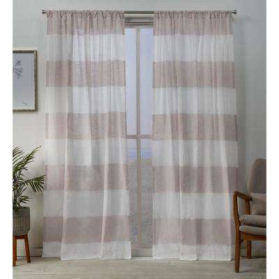 Darma Sheer Linen Rod Pocket Top Curtain Panel Pair in Blush - 50 in. W x 108 in. L (2-Panel)