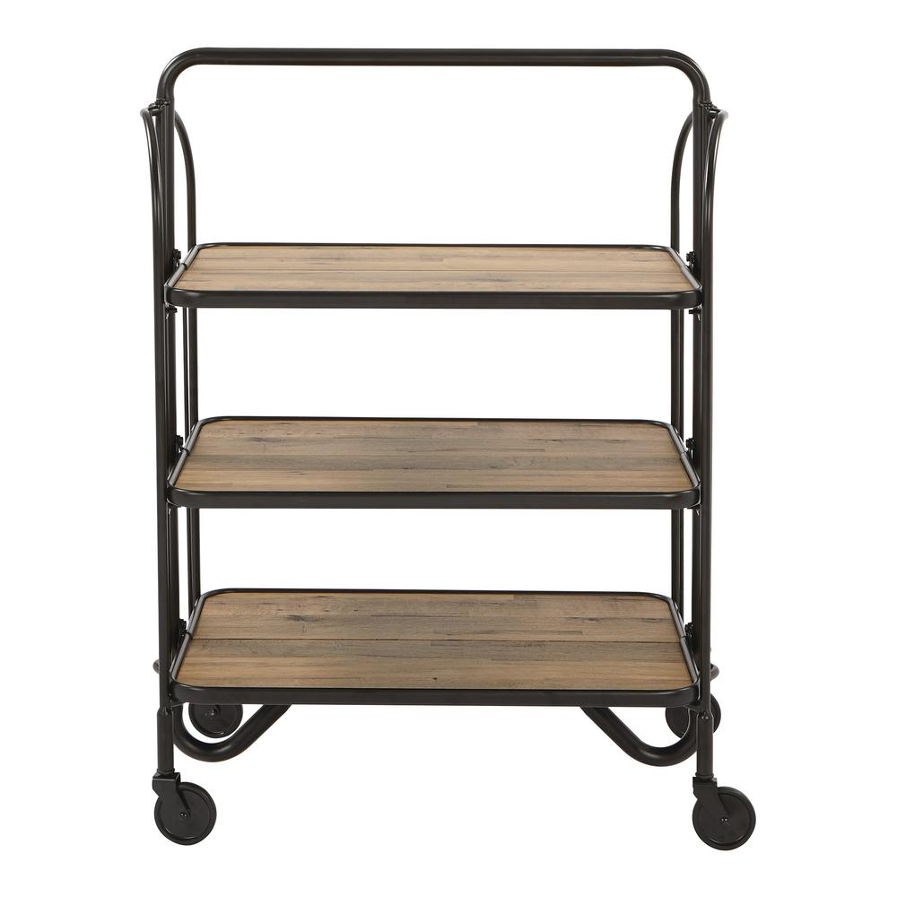 OSP Home Furnishings Sarita Black Folding Bar Cart with 3-Tiers K/D with Casters For storage and display, there's no better solution than the Sarita Folding Bar Cart from OSP Home Furnishings. This stylish cart features easy-to-clean melamine shelves. A unique folding design and casters for mobility. Color: Black.