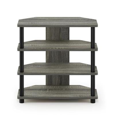 Turn-N-Tube 24 in. French Oak Gray and Black Composite TV Console Fits TVs Up to 32 in. with Open Storage