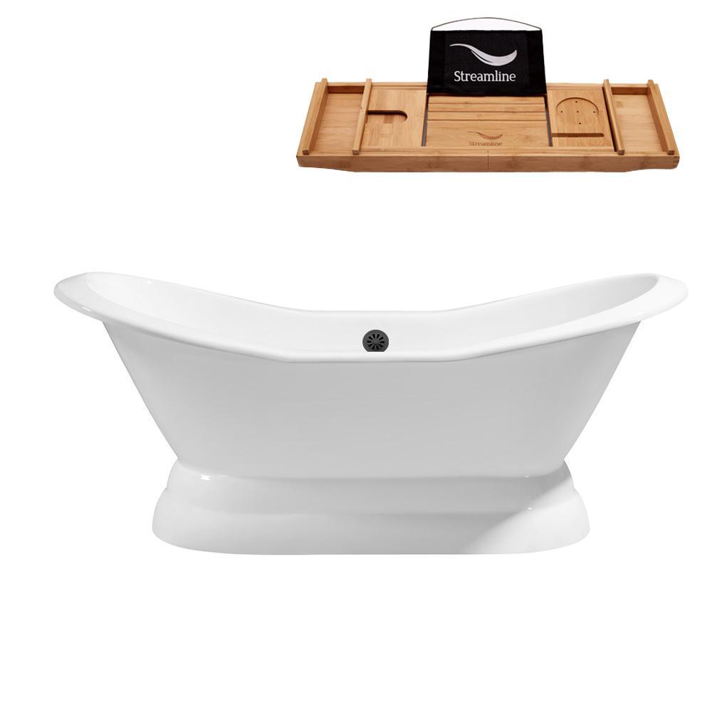 72 in. Cast Iron Flat Bottom Non-Whirlpool Bathtub in White