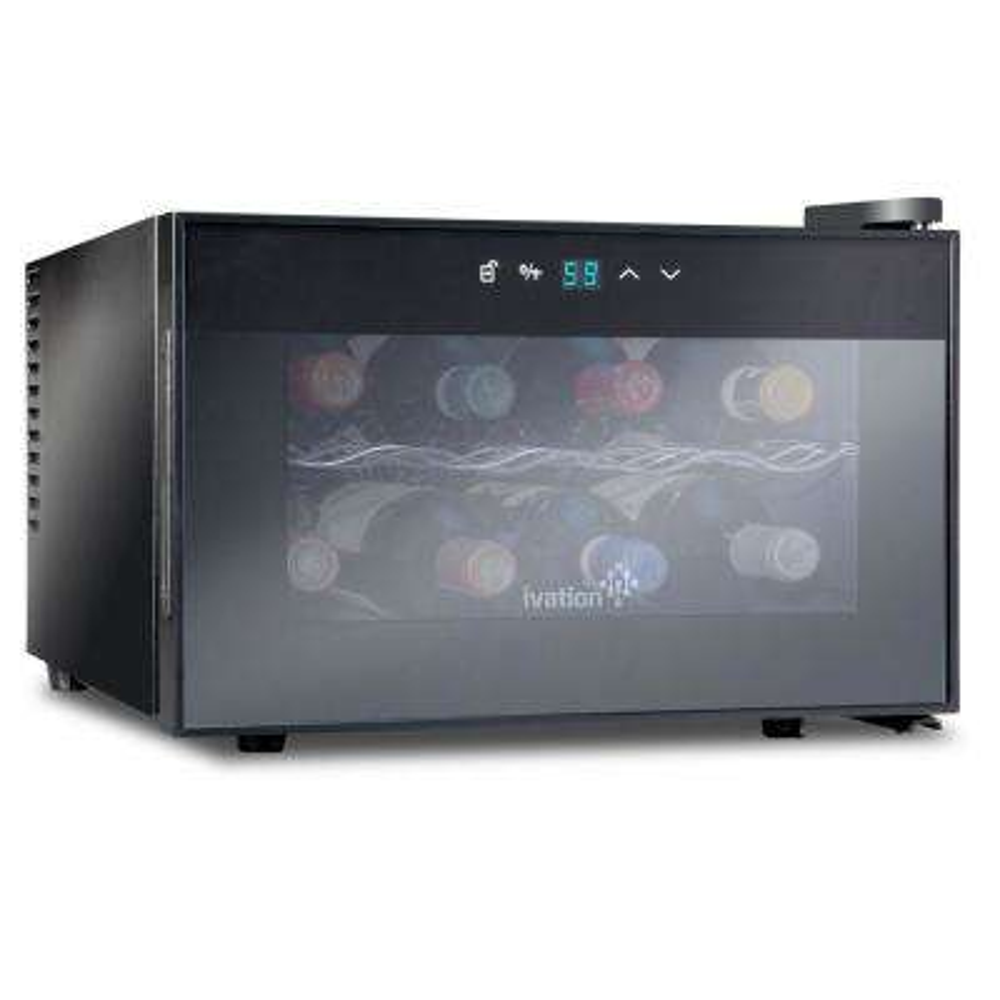 8 Bottle Thermoelectric Countertop Freestanding Wine Cooler/Fridge - Horizontal - Black