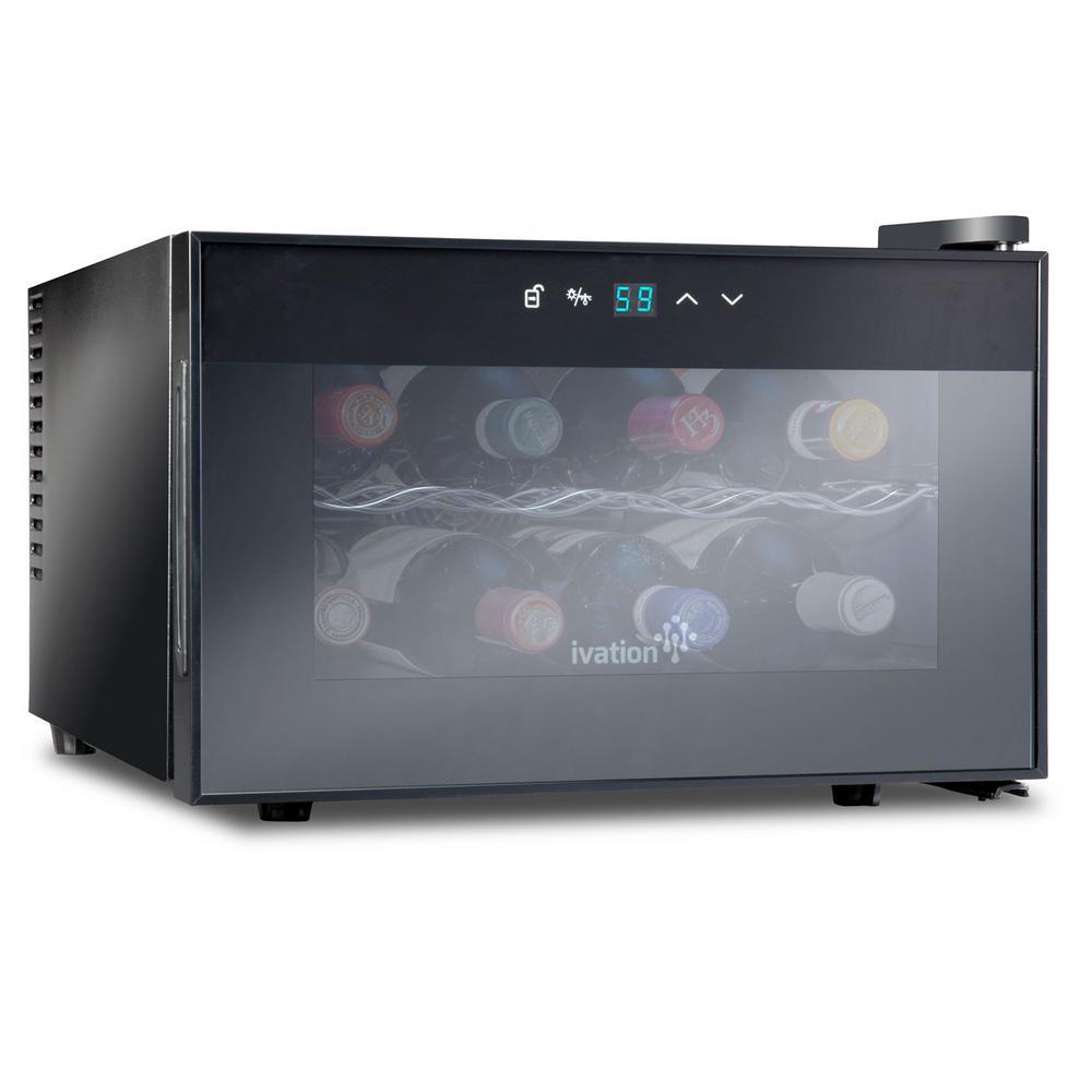 8 Bottle Thermoelectric Countertop Freestanding Wine Cooler Fridge Cellar Refrigerator - Horizontal - Black