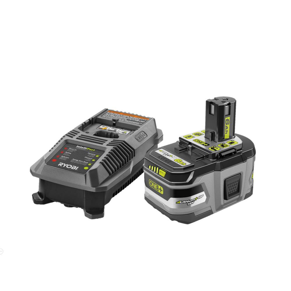 RYOBI 18-Volt ONE+ LITHIUM+ HP 6.0 Ah Battery Kit with 18-Volt Dual Chemistry IntelliPort Charger