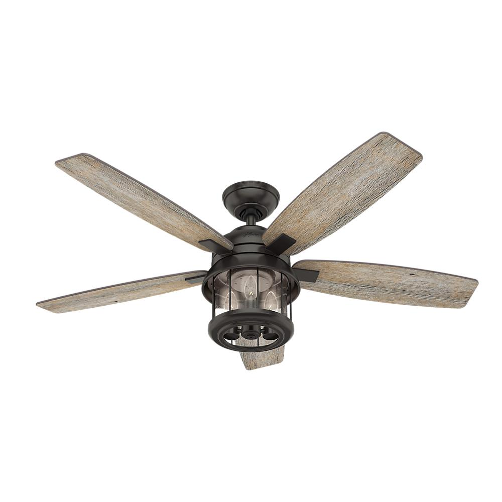 hunter coral bay 52 in led indoor outdoor noble bronze ceiling fan