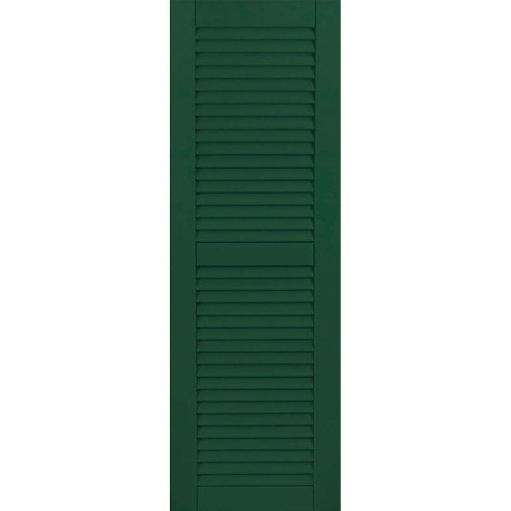 Ekena Millwork 15 in. x 25 in. Exterior Composite Wood Louvered Shutters Pair Chrome Green