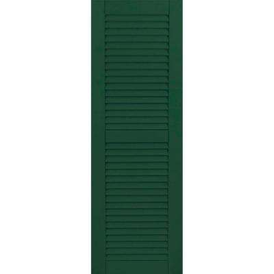15 in. x 80 in. Exterior Composite Wood Louvered Shutters Pair Chrome Green