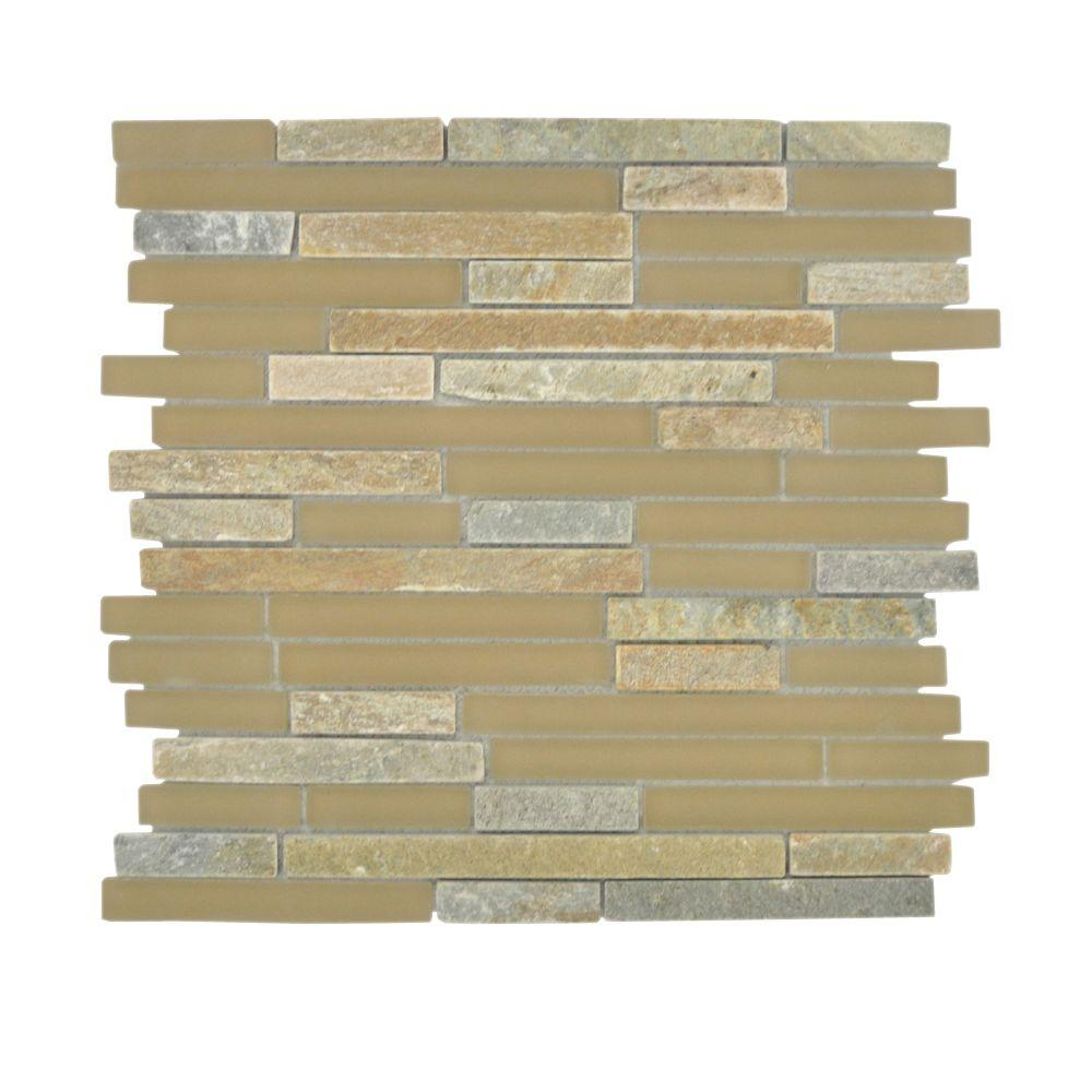Jeffrey Court Canyon View Quartz Pencil 12 in. x 12 in. Glass Wall & Floor Tile