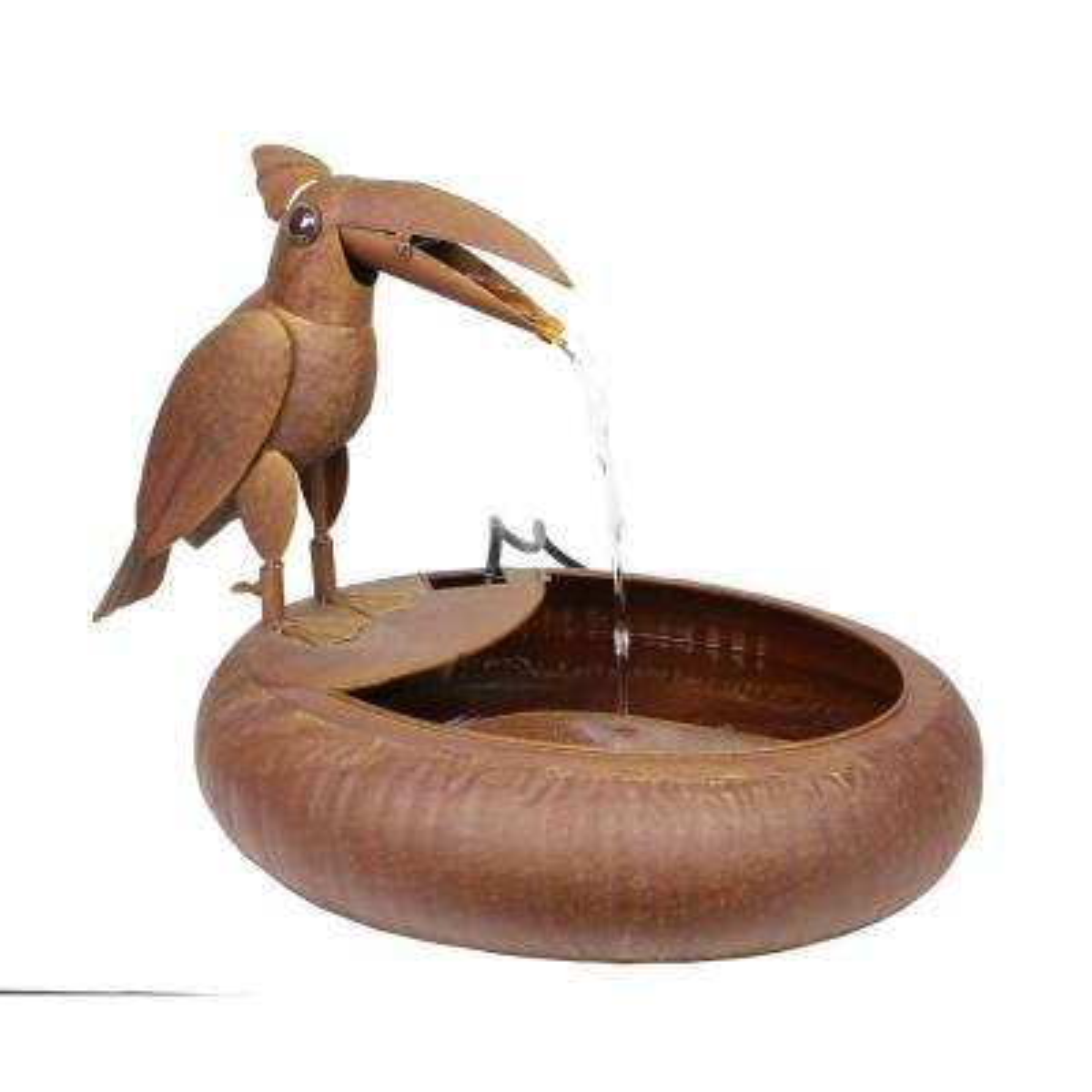 16 in. Tall Rustic Metal Toucan Bird Cascade Fountain