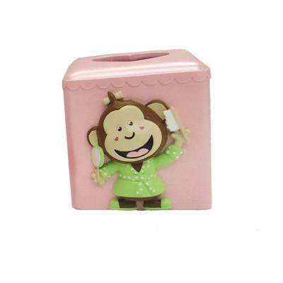 Slumber Party Collection 6 in. Tissue Box Holder in Pink with Multicolor Details