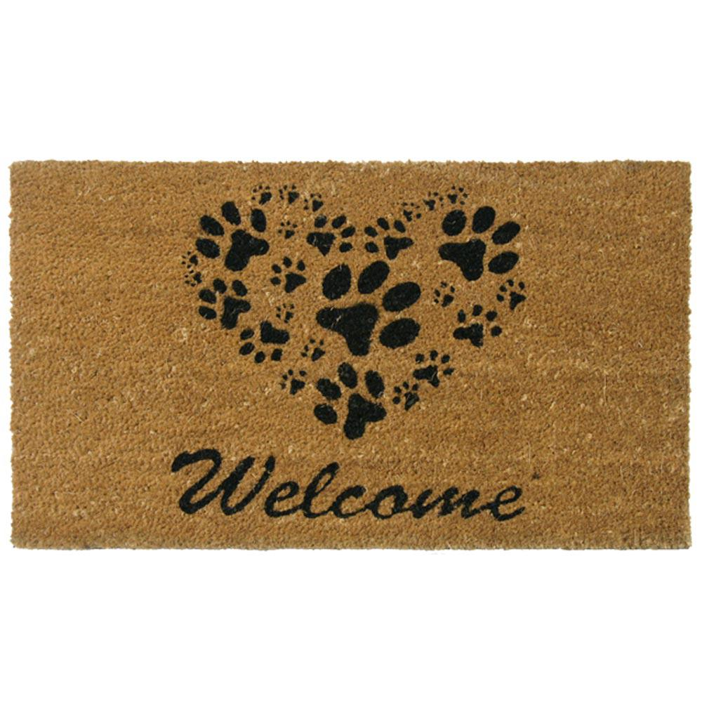 Rubber cal heart shaped paws 18 in x 30 in welcome mat for 106 door cards