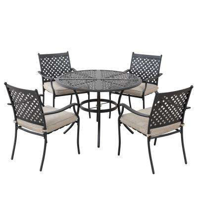 Seattle Black 5-Piece Aluminum Lattice Outdoor Dining Set with Beige Seat Cushions