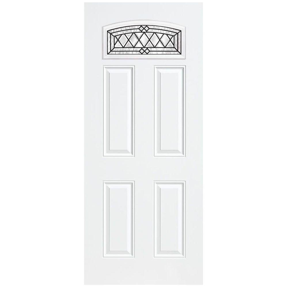 Masonite 36 in. x 80 in. Halifax Camber Fan-Lite Right-Hand Inswing Primed Steel Prehung Front Door