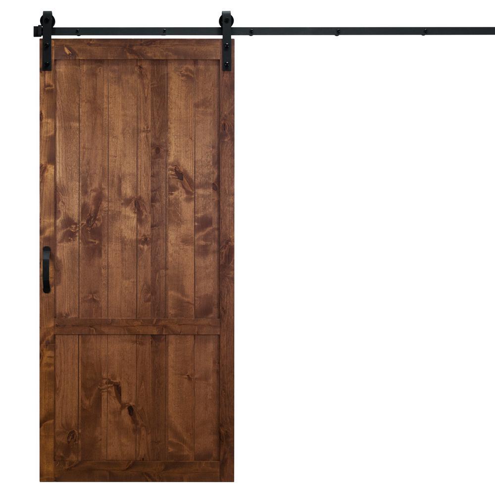 36 in. x 84 in. Country Vintage Walnut Alder Wood Interior Barn Door Slab with Sliding Door Hardware Kit