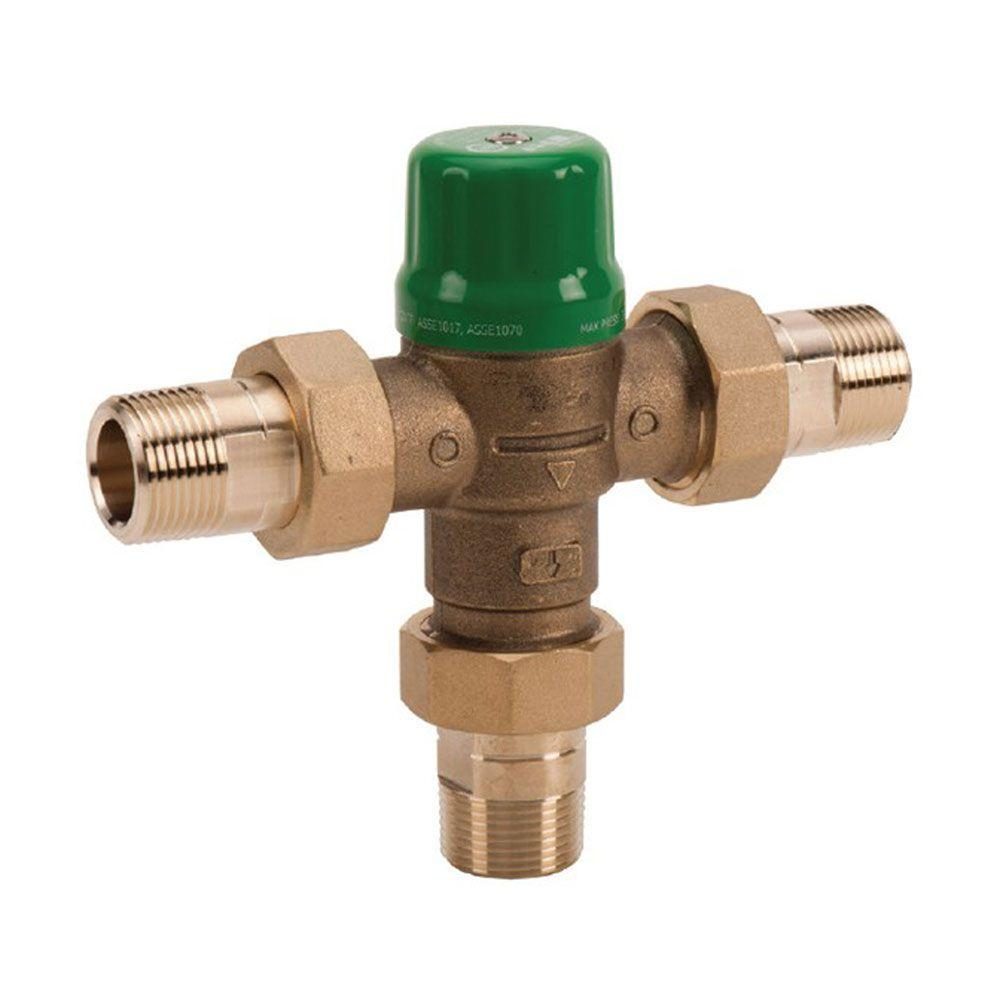1/2 in. Union Sweat Lead-Free Mixing Valve with Gauge