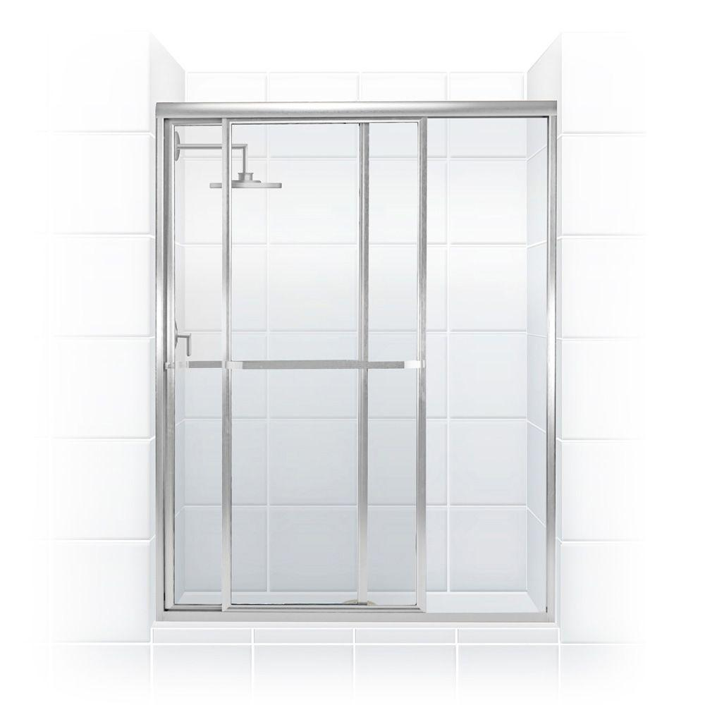 Coastal Shower Doors Paragon Series 64 in. x 66 in. Framed Sliding Shower Door with Towel Bar in Chrome and Clear Glass