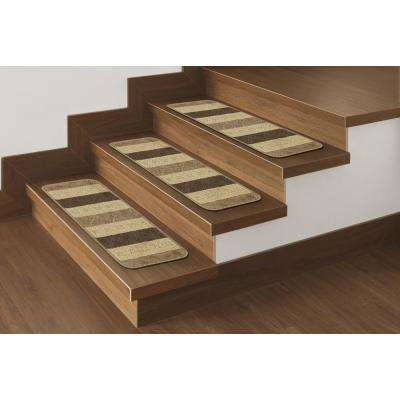 Softy Collection Brown Striped Design 9 in. x 26 in. Rubber Back Stair Tread (Set of 7)