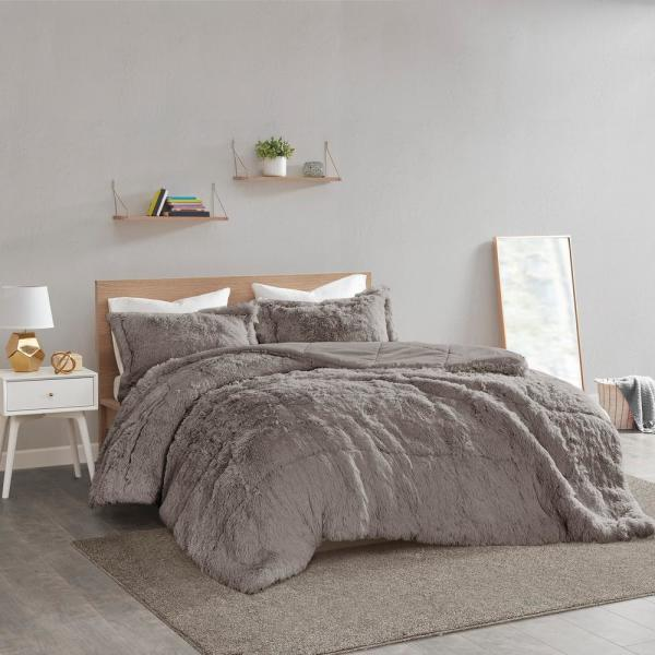 Leena 3-Piece Grey Textured Shaggy Faux Fur Polyester Full/Queen Comforter Set