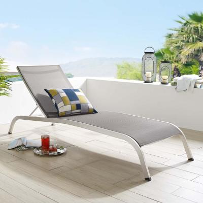 Savannah Adjustable Height Aluminum Patio Mesh Chaise Outdoor Patio Lounge Chair in Gray