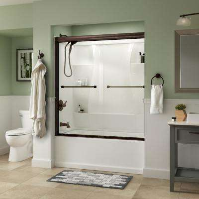 Everly 60 in. x 58-1/8 in. Semi-Frameless Traditional Sliding Bathtub Door in Bronze with Clear Glass