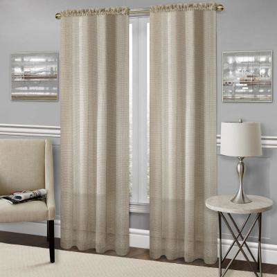 Richmond Tan Polyester Rod Pocket Curtain - 52 in. W x 63 in. L