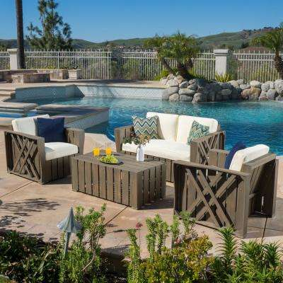 Cadence Grey 4-Piece Wood Patio Conversation Set with Cream Cushions