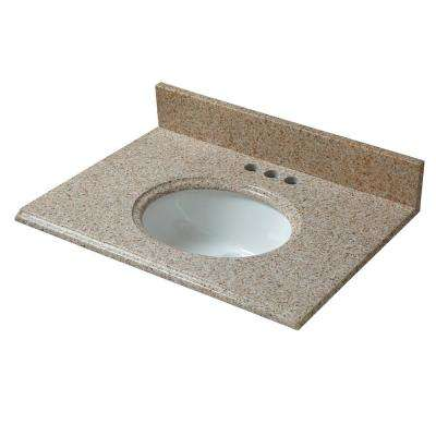 25 in. W x 19 in. D Granite Vanity Top in Beige with White Basin