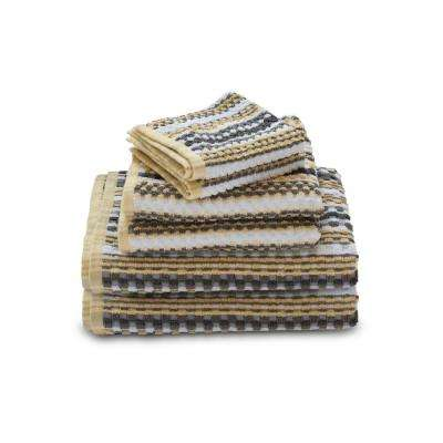 Waffle Check 6-Piece 100% Cotton Bath Towel Set in Light Gray