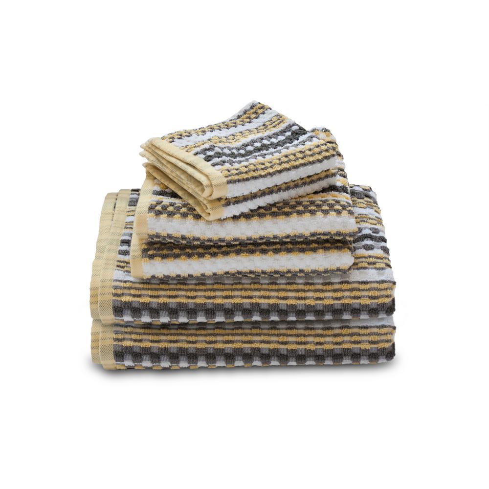 Waffle 6-Piece Light Gray Geometric Bath Towel Set