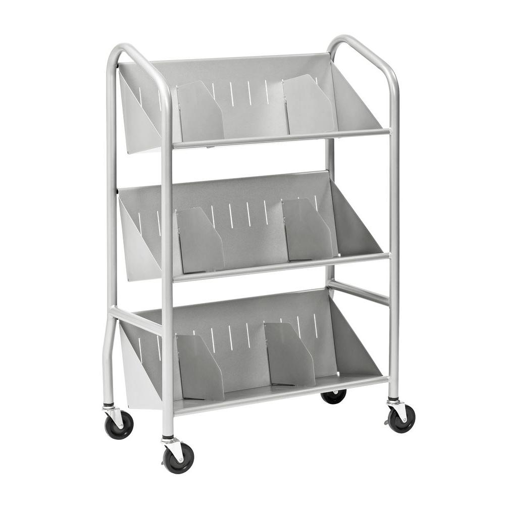 Buddy Products 29 in. W Sloped 3-Shelf Book Cart with Dividers in Silver
