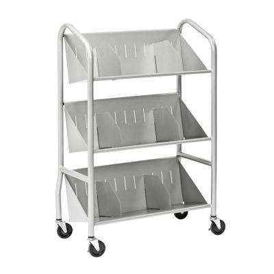 29 in. W Sloped 3-Shelf Book Cart with Dividers in Silver