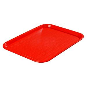 Carlisle 12.06 inch x 16.31 inch Polypropylene Cafeteria/Food Court Serving Tray in Red (Case of 24) by Carlisle