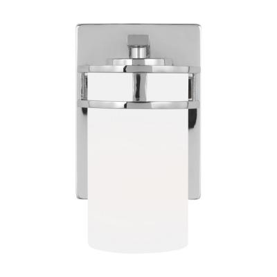 Robie 5 in. 1-Light Chrome Vanity Light with Etched/White Inside Glass Shades