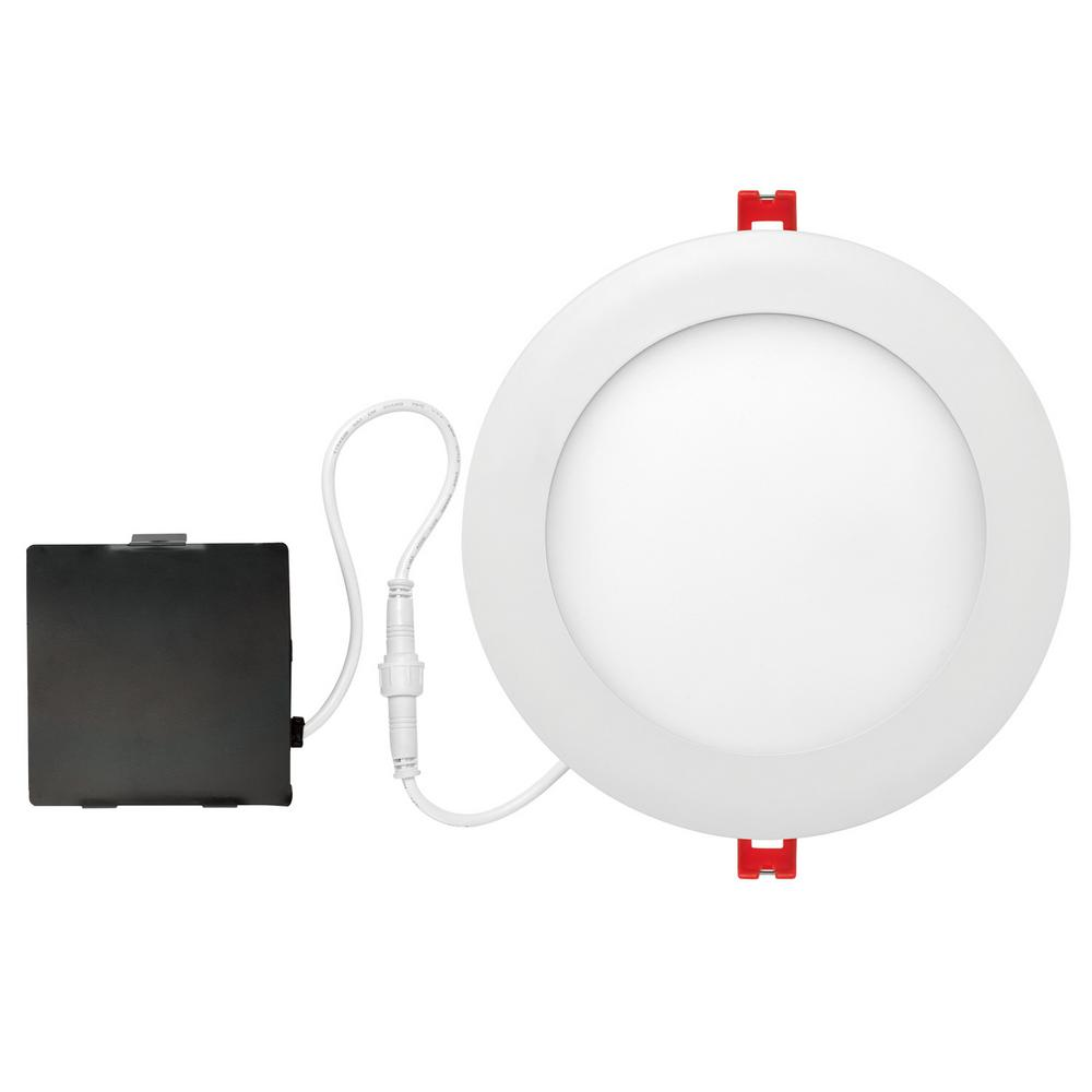 detailed look 66db6 a95c2 Globe Electric Designer Ultra Slim 6 in. White Integrated LED Recessed Kit
