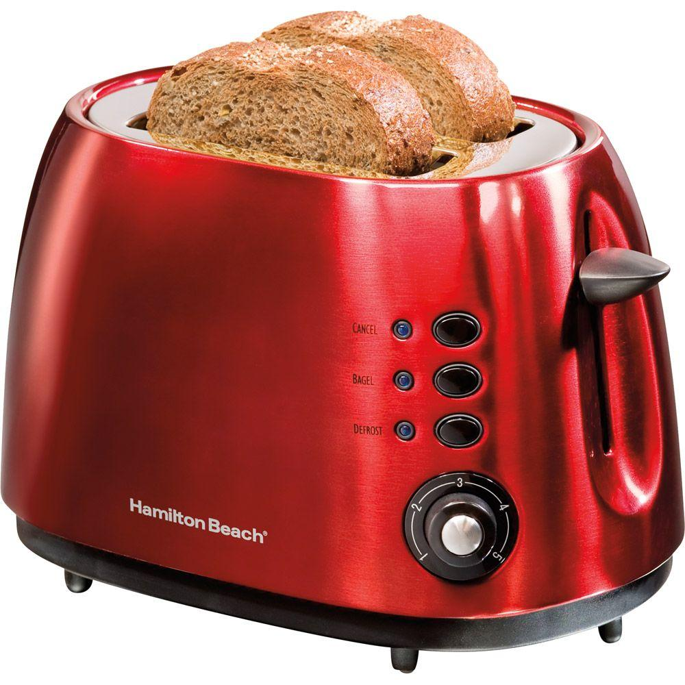 Hamilton Beach 2-Slice Bagel Toaster in Cherry Red with Defrost and Cancel Functions-DISCONTINUED