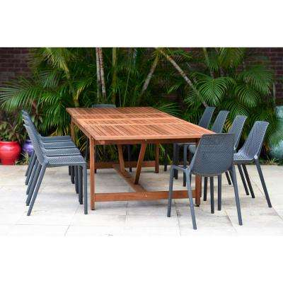 Finisterre 11-Piece Wood Rectangular Outdoor Dining Set