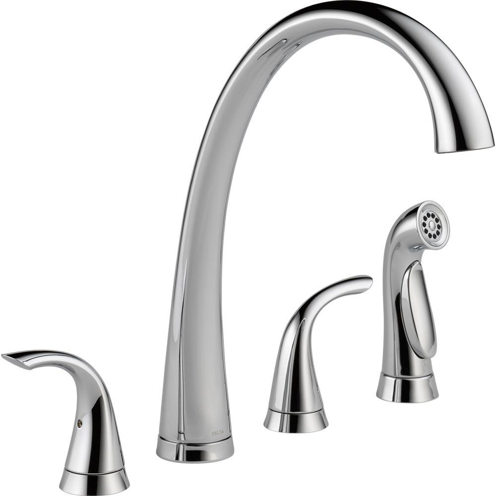 Pilar 2-Handle Standard Kitchen Faucet with Side Sprayer in Chrome