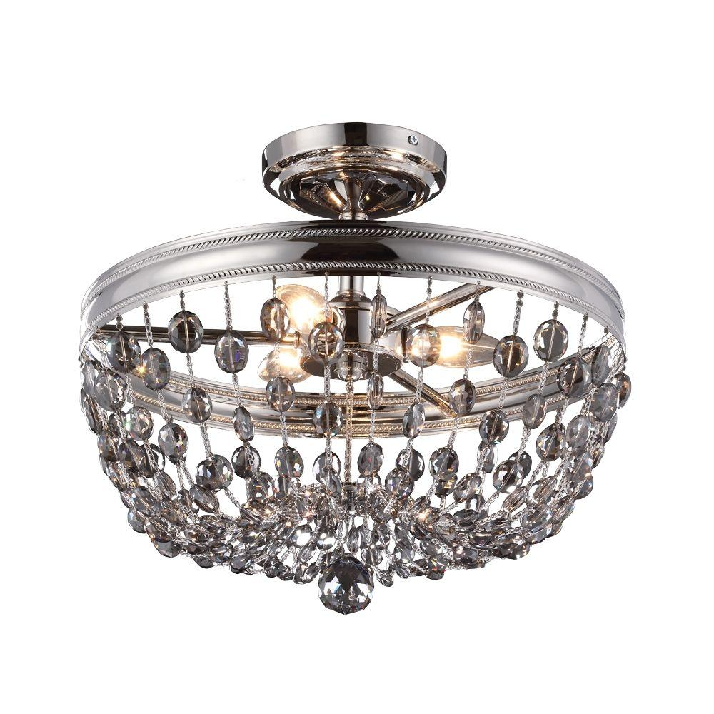 Feiss Malia 15.875 in. W 3-Light Polished Nickel Semi-Flush Mount with Smoke Gray Crystals