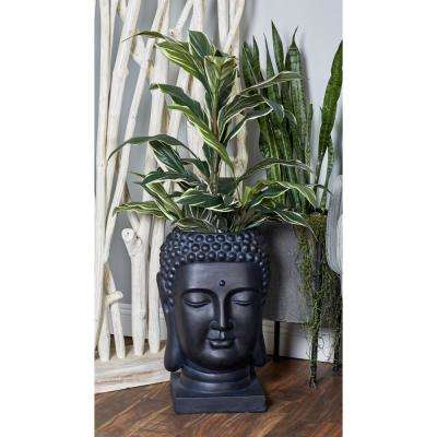 24 in. x 14 in. Black Fiber Clay Buddha Head Planter