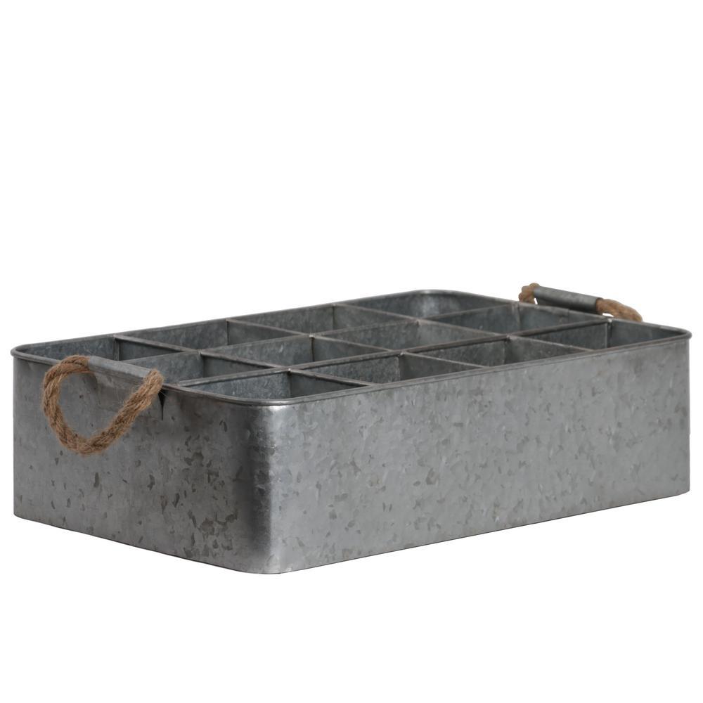 Gray Metal Decorative Tray
