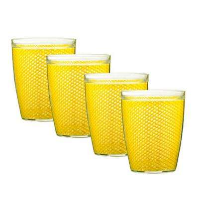 Fishnet 14 oz. Yellow Insulated Drinkware (Set of 4)