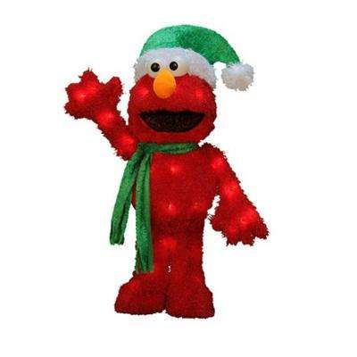 18 in. Pre-Lit 3D Sesame Street Waving Elmo Christmas Outdoor Decoration and Clear Lights