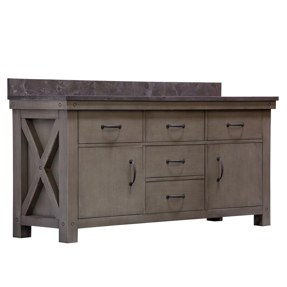 Water Creation Aberdeen 72 in. W x 34 in. H Vanity in Gray with Granite Vanity Top in Limestone with White Basins Mirrors Faucets