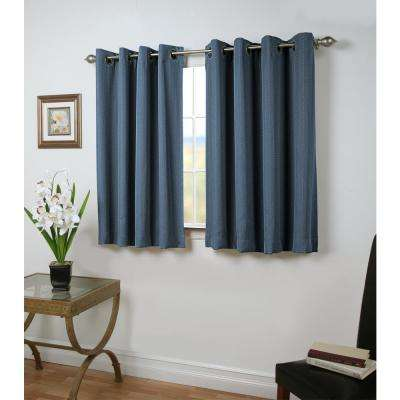 Blackout Grand Pointe Short Length Grommet Panel Woven with Blackout Yarns 54 in. W x 45 in. L in Deep Blue